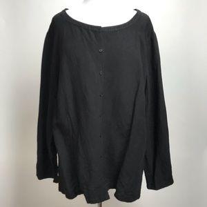 Eileen Fisher Viscose Linen Woven Boxy Tunic Shirt